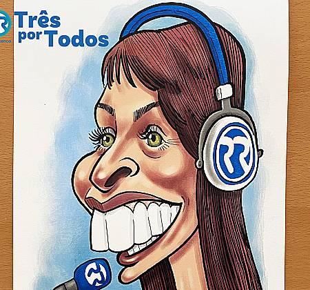 Caricatura de Ana Galvão desenhada na ação Três Por Todos