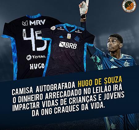 Camisa do Goleiro Hugo Souza do Flamengo, totalmente autografada