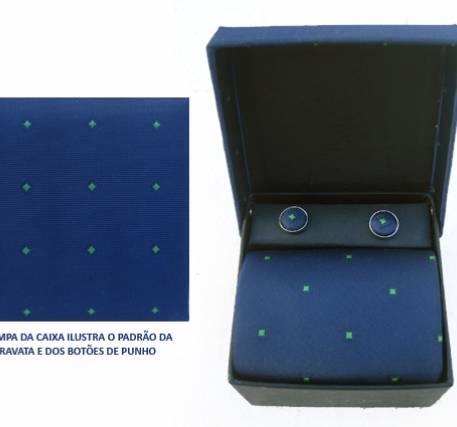 Gravata e Botões de Punho Padrão Elegante