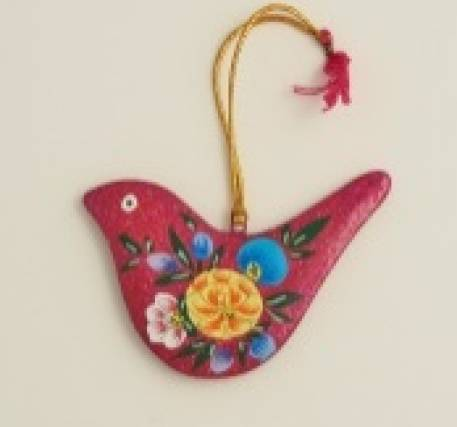 Flat Pink Glitter Bird Christmas Decoration
