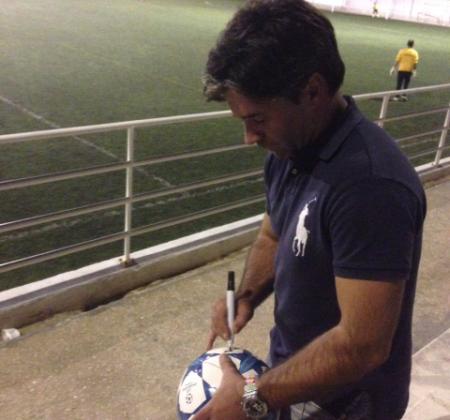 Autographed football by José Dominguez
