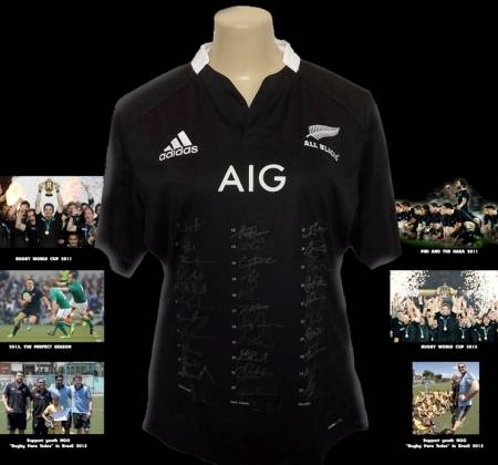 All Blacks jersey autographed by the entire team and technical committee