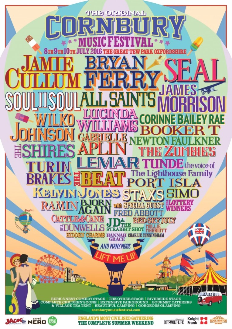 Espreguiçadeira do Festival Cornbury autografada por Tom Jones, Billy Ocean, Stewart Copeland, Seal, Lulu, The Fratellis