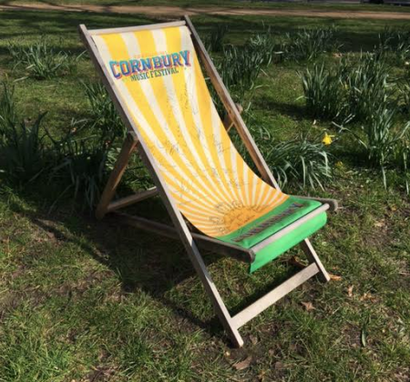 Cornbury Festival deck chair signed by Tom Jones, Billy Ocean, Stewart Copeland, Seal, Lulu, The Fratellis