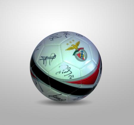 Bola de futebol do tricampeão Sport Lisboa e Benfica autografada por todo o plantel (2015/2016)