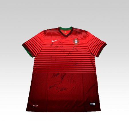 Portuguese national football team jersey autographed by the entire team