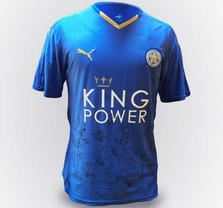 Camisola do Leicester City FC autografada (2015/2016)