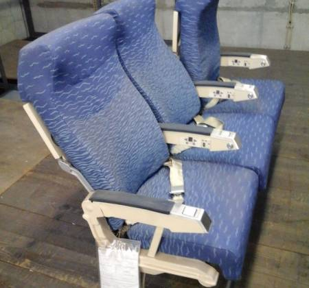 Economy triple chair, cream colour arm, from TAP A320 airplane| 1