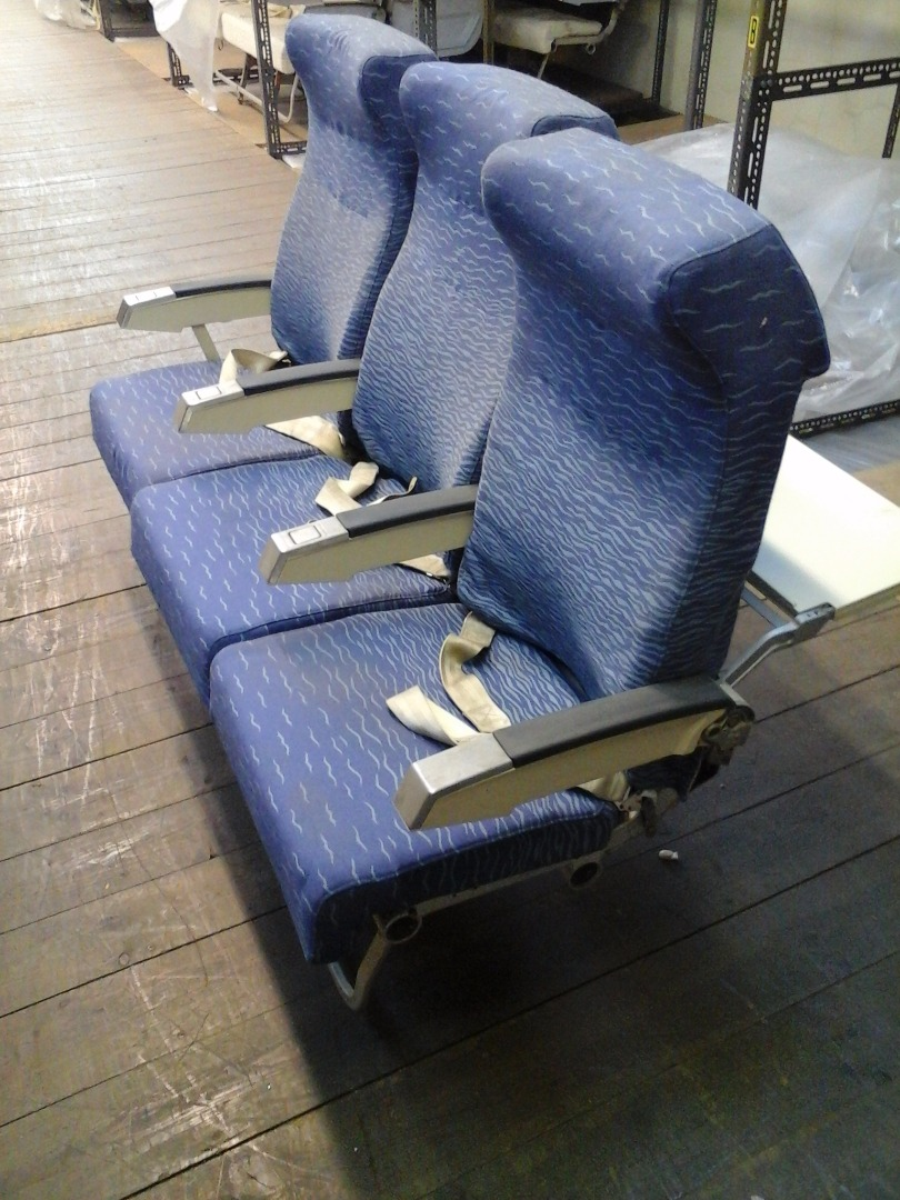 Economy triple chair, cream colour arm, from TAP A320 airplane| 2