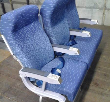 Economy triple chair, blue colour arm, from TAP A320 airplane| 2