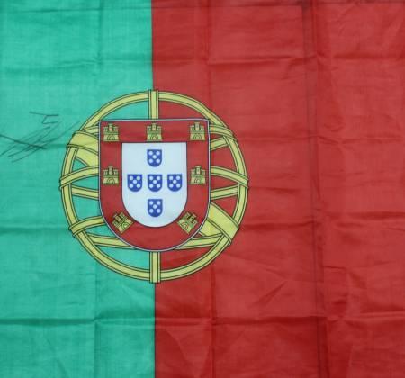 Portugal flag autographed by José Fonte
