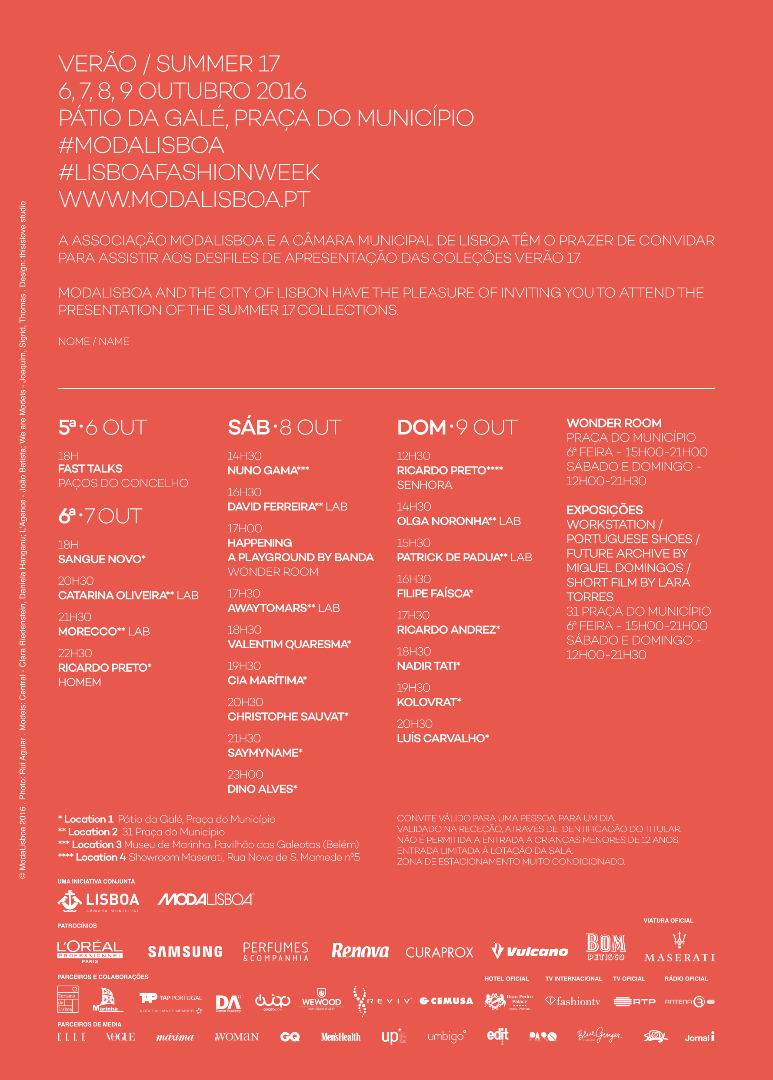Convite duplo – ModaLisboa 2016 – 7 de Outubro
