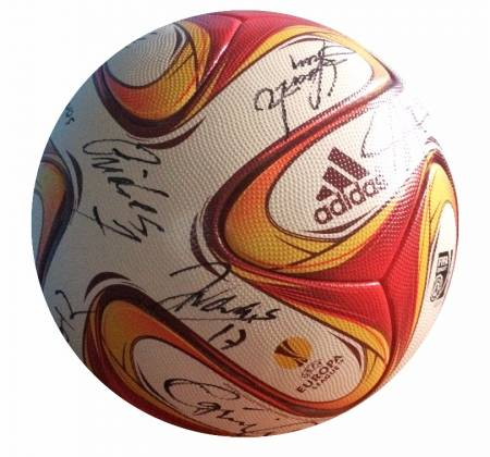 Soccer ball of the Europa League, autographed by Rio Ave entire team