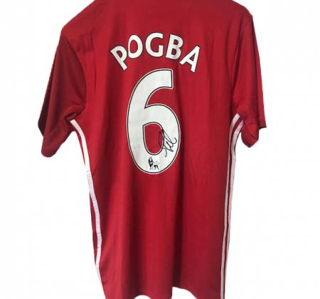 Pogba's jersey, of Manchester United, autographed by the player