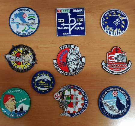 Conjunto de emblemas da Esquadra 601 da Força Aérea Portuguesa