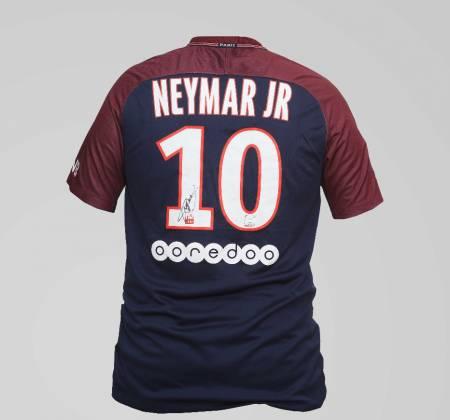 Camisola de Neymar Jr. do Paris Saint Germain autografada pelo jogador