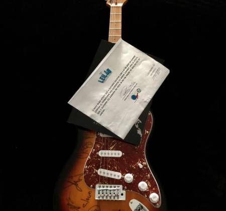 Dolphin Rocket ST guitar autographed by the band Slipknot