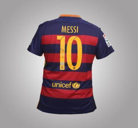 Camisola de Messi do FC Barcelona autografada pelo jogador