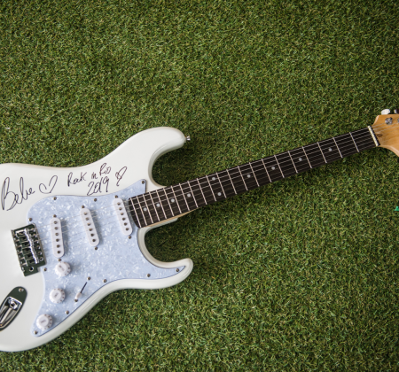 Signed Guitar by Bebe Rexha at Rock in Rio 2019