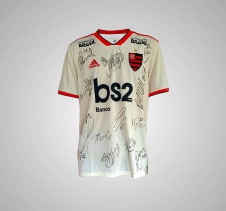Camisa do Flamengo autografada pelo elenco 2018 - 2019