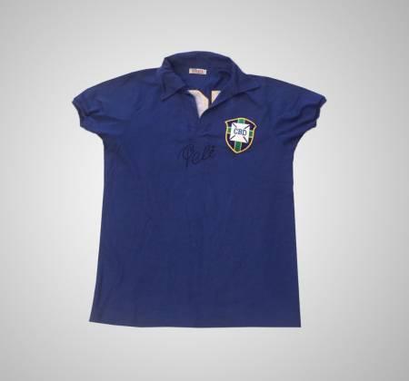 Camisa Retrô Brasil - Copa de 58 assinada pelo Rei Pelé