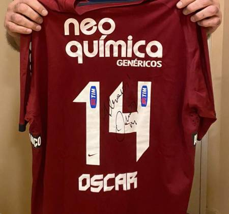 Corinthians shirt signed by Oscar Schmidt