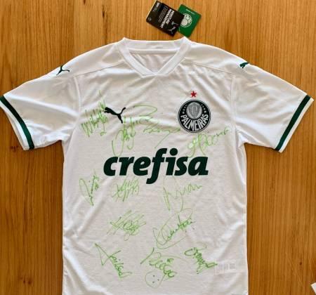 Camisa Oficial do Palmeiras tamanho M Autografada