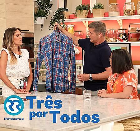 Camisa de João Baião oferecida em direto no programa Casa Feliz