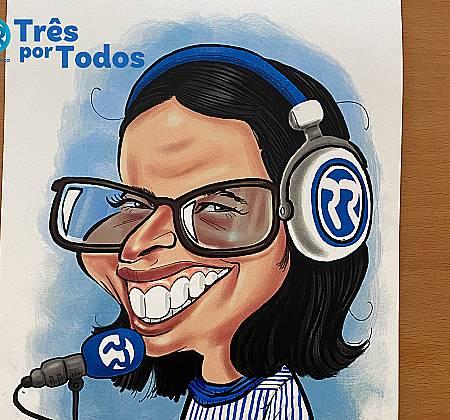 Caricatura de Joana Marques desenhada na ação Três Por Todos