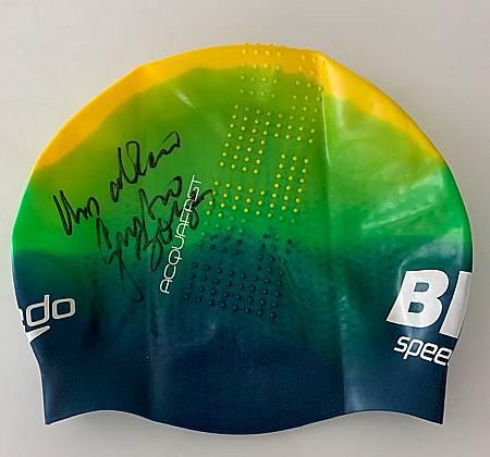 Touca de natação em silicone assinada pelo ídolo Gustavo Borges