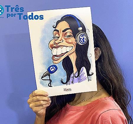 Caricatura de Filipa Galrão desenhada na ação Três Por Todos