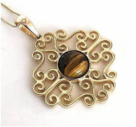 Mandala Ouro Amarelo com Olho de Tigre -  Vi Thomaz Jóias