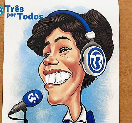 Caricatura de Inês Lopes Gonçalves desenhada na ação Três Por Todos